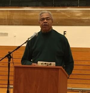 Rev. Wheeler Parker, Jr. addresses Hillcrest High School