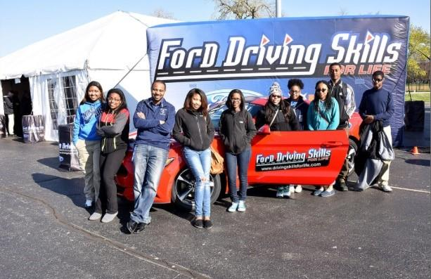 Zakariah McGrew, Kala Stewart, Mr. Terrence Simmons, Jalynne East, Alexis Simmons, Sadell Anderson, Lasondra Record, Angela Guyton, Kevin Moore, and Jonathan Neal at U.S. Cellular Field for Ford Driving Skills for Life