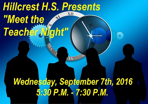 "Hillcrest HS announces upcoming ""Meet the Teacher Night"""