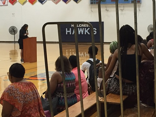 "Dr. Simms welcomes the Hillcrest family on ""Meet the Teacher Night."""