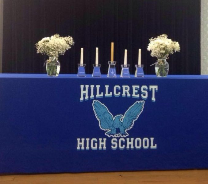 Candles+representing+the+pillars+of+National+Honor+Society+stand+ready+to+represent+Scholarship%2C+Leadership%2C+Service%2C+and+Character.+
