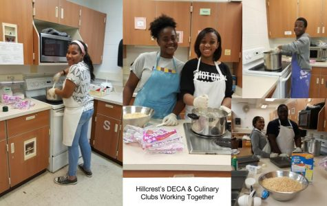 (Hillcrest's DECA & Culinary Clubs working together to prepare Crispy Rice Treats: Mrs. Sweeney, Kecia Poole, Culinary Student, and Antoine Thompson)