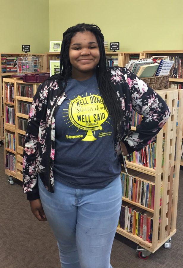 Freshman Desiree Jackson on Global Youth Service Day at The Bridge Teen Center. (4/22/17)