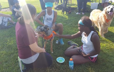 Hillcrest's Jasmine Curry & Darlene Moore-Jones keeping dogs and people hydrated at the Winged Foot Foundation's 2nd Annual Willow's Walk for the Kids.