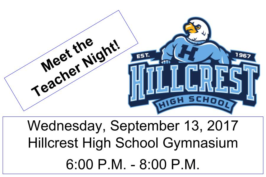 "Hillcrest HS invites the community to ""Meet the Teacher Night"""