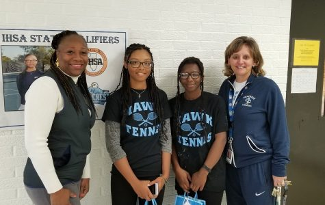 Principal Simms and Athletic Director Wunar send off Mia and Kayla with best wishes as they head to State.