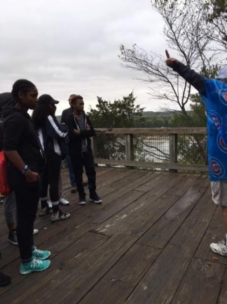 Mr. Rappold educating Tabytha Jones, Daleyon Whittier, and Cheyenne Roberts about Starved Rock's past. (10/4/17)