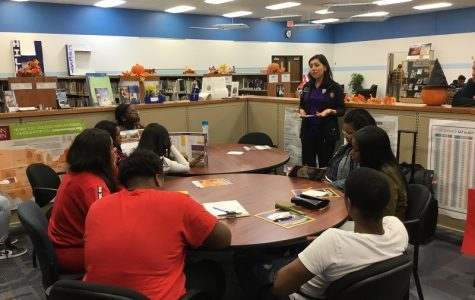 Hillcrest seniors in the College & Career Center meet representative from WIU.