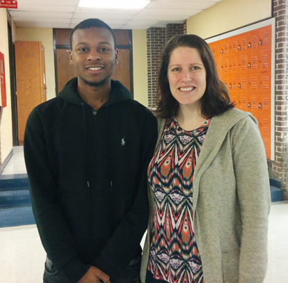 Hillcrest student Armoni Grant and teacher Kara Bucci
