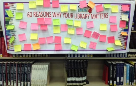 Pictured is a banner where people posted reasons why their library matters. There were over 60 reasons posted