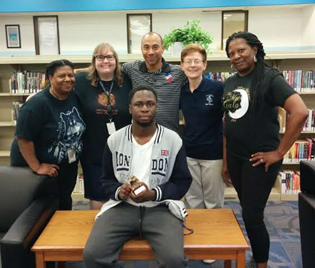 Pictured: Front Center: Timeon Oyeyemi.   Back Row Right to Left:  Hope Smith,  Kara Williams, Dr. Maurice Young, Lisa Walsh and Sylvia Maxwell.