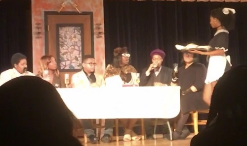 The cast of Clue performing during the dinner scene. (December 1, 2018)