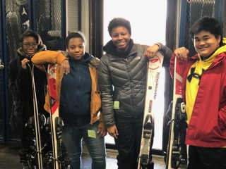 Melodie Slaughter, Tatyana Turner, Danielle Douglas, and Jovencio Daguio in their ski gear!